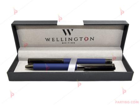 Комплект 2 броя луксозни химикали в куия в син цвят - Wellington