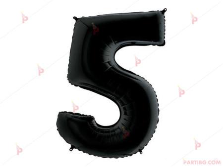 "Фолиев балон цифра ""5"" - черен 1м."