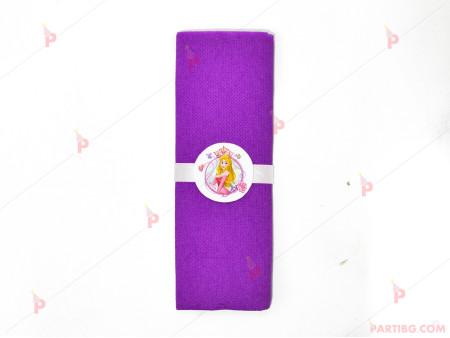 Салфетка едноцветна в лилаво и тематичен декор Аврова / Спящата красавица