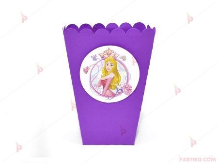 Кофичка за пуканки/чипс с декор Аврова / Спящата красавица в лилаво
