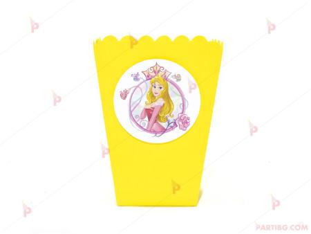 Кофичка за пуканки/чипс с декор Аврова / Спящата красавица в жълто