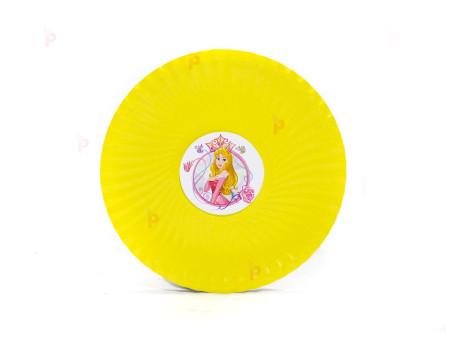 Чинийки едноцветни в жълто с декор Аврора / Спящата красавица