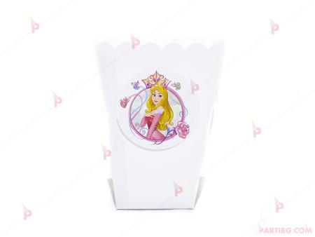 Кофичка за пуканки/чипс с декор Аврова / Спящата красавица в бяло
