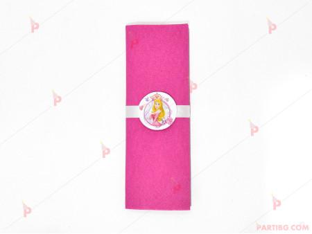 Салфетка едноцветна в циклама и тематичен декор Аврова / Спящата красавица