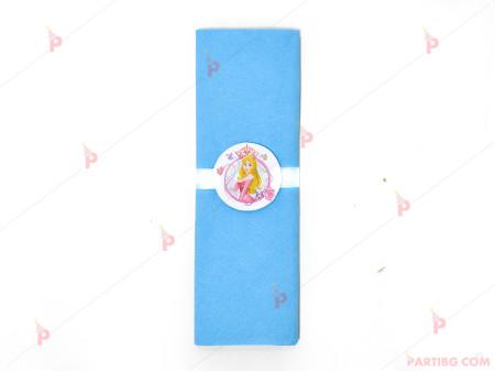Салфетка едноцветна в синьо и тематичен декор Аврова / Спящата красавица