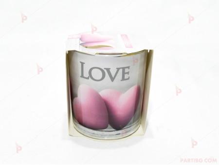 Ароматна свещ в стъклена чаша с декор/аромат 3