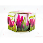 Ароматна свещ в стъклена чаша с декор/аромат лалета | PARTIBG.COM