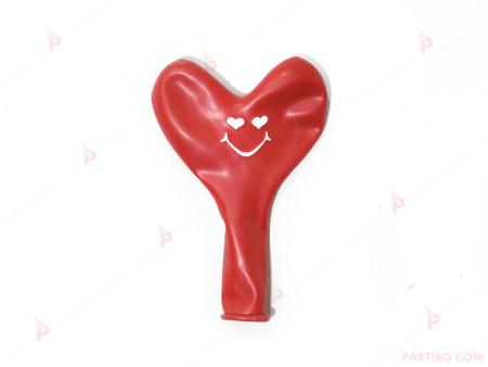 Балони 5бр. сърца червени с печат усмивка