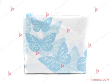 Салфетки к-т 12бр. Сини пеперуди