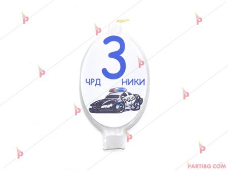 Свещичка за рожден ден персонализирана с декор Полицейска кола