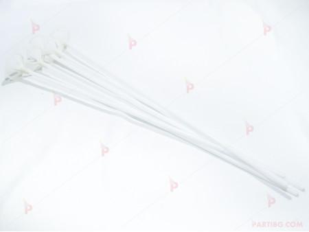 Клечки 5бр. за балони - бели пластмасови