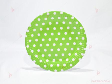 Чинийки к-т 10бр. зелени с бели точки
